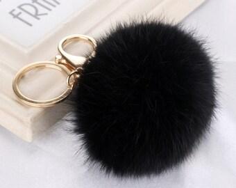 black fur ball keychain