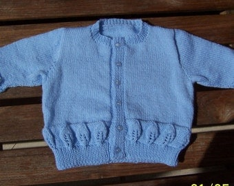 """Handmade Round necked Baby Cardigan 6-9 months-20"""" chest, Hand knitted Pale Blue Baby Jacket"""