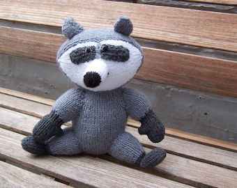 Raccoon Hand Knitted Toy designed by Alan Dart, Handmade toy, Knitted soft toy, stuffed toy