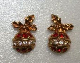 Christmas Tree Bulb Tiny Pierced w Rhinestones Earrings