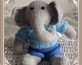 little grey knitted elephant