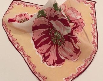 Vintage Floral Handkerchief, Pink and Burgandy Floral Handkerchief, Wedding Handkerchief, Bridesmaid Handkerchief