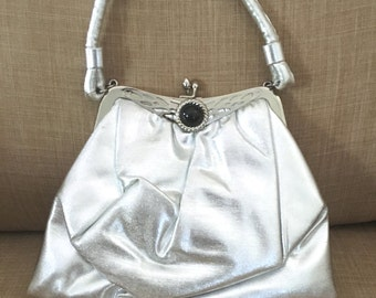 Vintage Silver Metallic Purse with Handle,