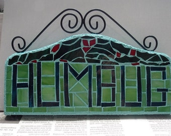 Wall Art of Christmas Humbug Stained Glass Mosaic