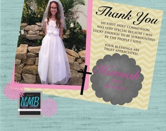 First Communion Thank You Card 5x7 For Girl or Boy