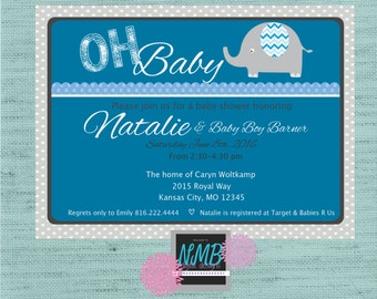 Baby Boy Shower Invitation 5x7