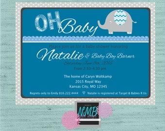 Baby Boy Shower Invitation 5x7
