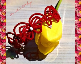 Tatted lace bracelet - Red butterfly