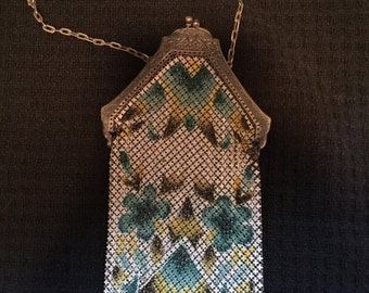 Antique Chainmail Enamel Flapper Purse 1920s