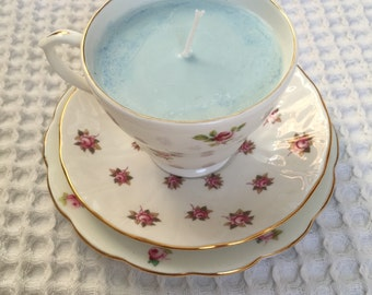 Rose scented candle in a vintage bone china tea cup