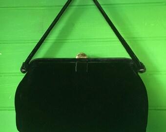 1930's Black Velvet Evening Bag