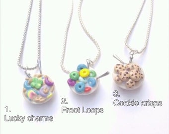 Cereal bowl necklace, lucky charms, fruit loops, cookie crisps, cereal and milk, kawaii, bff necklace/fake food jewelry/ cookies and milk