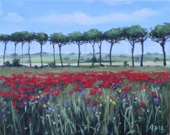 Tuscan Oil Painting Pine with Trees and Poppies