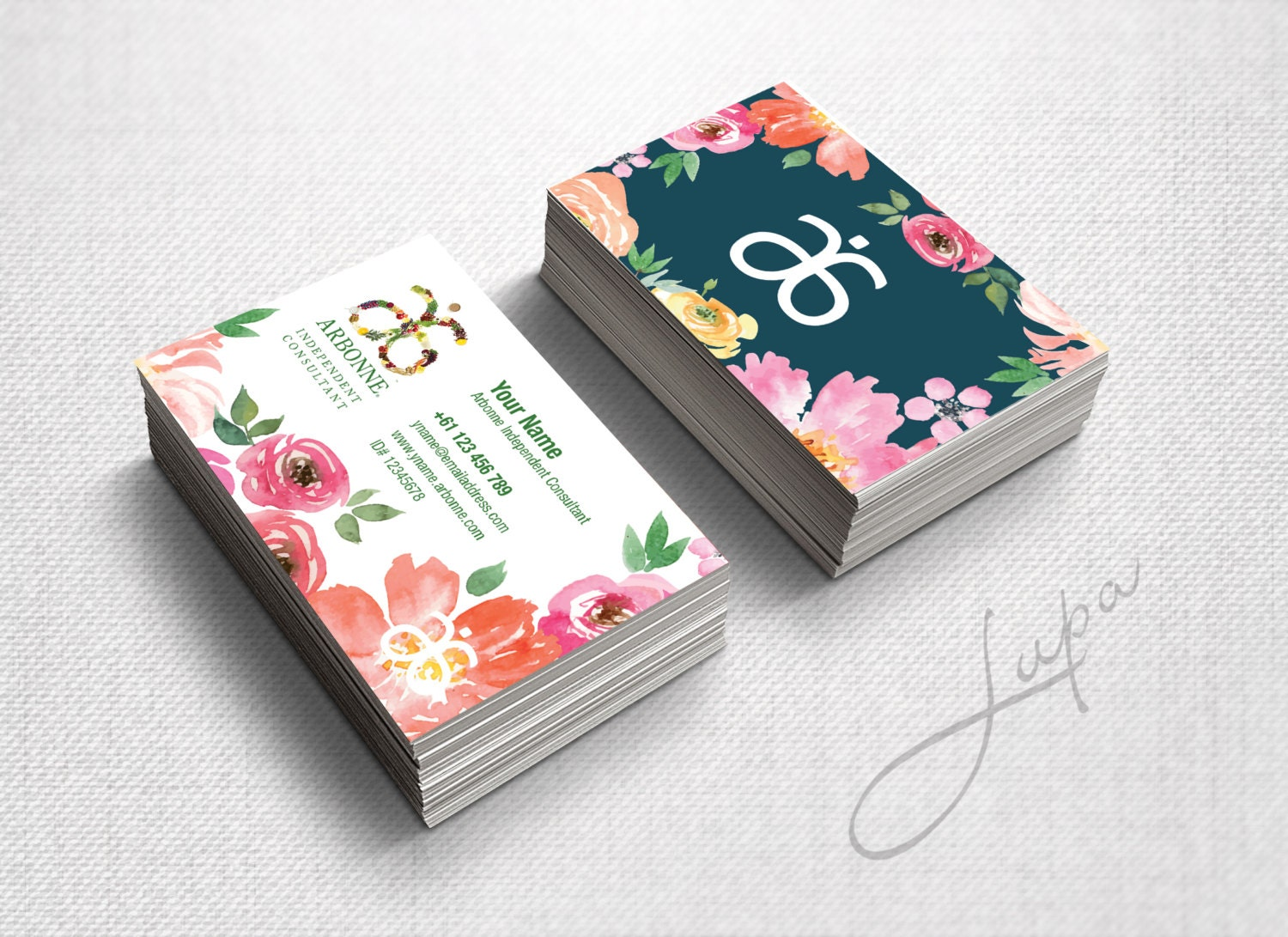 Arbonne Business Cards 06 digital files supplied only