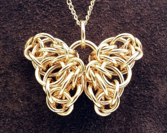 """Celtic Butterfly Chainmail Pendant - 14kt Gold Fill with 18"""" Chain"""