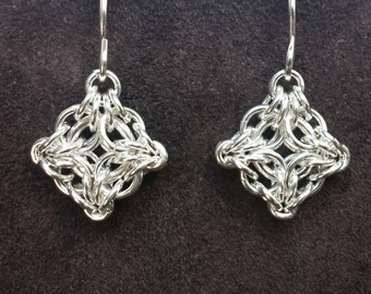 Byzantine Labyrinth Chainmail Earrings - Sterling Silver