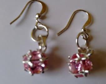 Pink Crystal Ear Rings