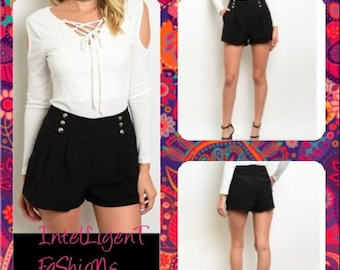 Young Women Black Sailor Shorts