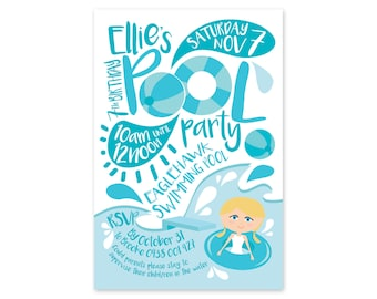 Kids Birthday Printed POOL PARTY Invitations + Envelopes. Great Quality! Matching party bags available.