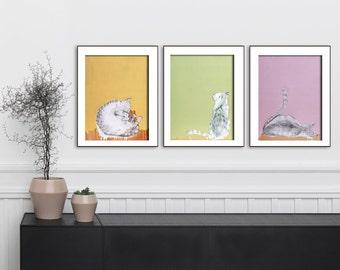 Cat lover gift, Cat original art print, Set of 3 prints, Wall art print,  Gallery wall art, Set of three prints, #534CA #535CA #536CA