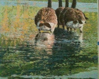 Original Pastel Painting - Four at Attention by Michael J. Brown