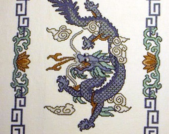 Imperial Dragon Finished Cross Stitch