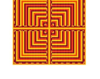 Bright red and Yellow Geometric Cross Stitch Pattern