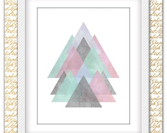 Triangles Nursery Art, Triangle Wall Art, Abstract Watercolor, Watercolor Triangle Poster, Rustic Geometric, Nursery Wall Art, Gift, Bonus