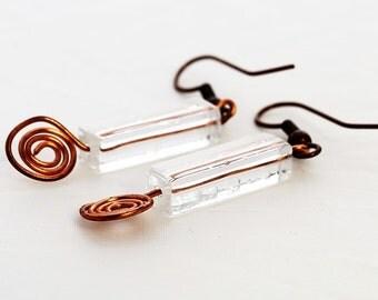 Clear rectangular copper spiral earrings