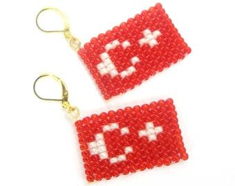 Miyuki beads - WM / EM - Turkey flag earrings - merchandise (BS-1198)