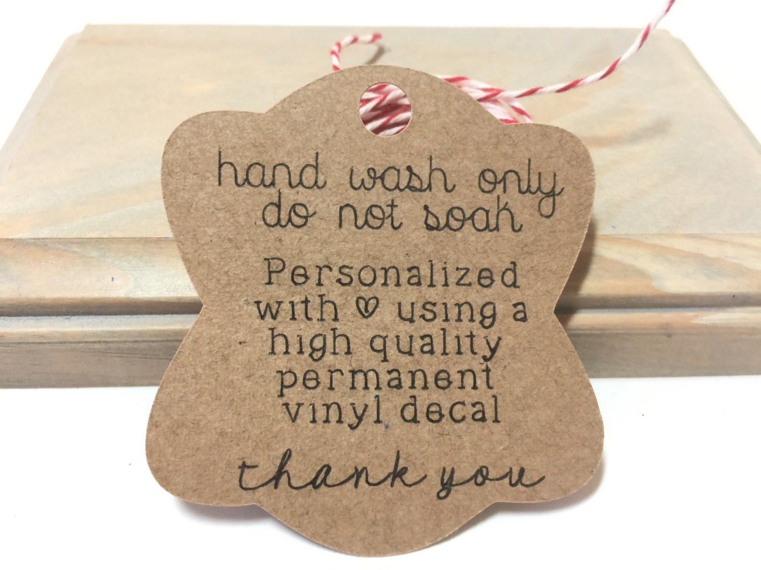 Washing Instructions Tag For Items Personalized With Vinyl