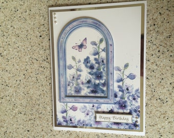 Large A5 Handmade Happy Birthday card blue lilac delphiniums flowers and butterflies glittered