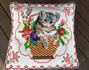 Handmade Claret Decorative Throw Pillow Embroidered Pillowcase with Cat Pattern for Couch Made in Ukraine