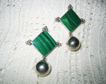 Vintage Sterling Malachite Pierced Dangling Earrings Mexico TS 79