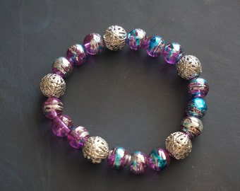 Purple, Silver, Blue Bead Bracelet With Silver Accent Beads