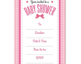 Baby Shower blank INVITATION, Pack of 16, Girls Pink Bow Theme, Party Invites