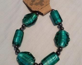 Handmade Deep Green Bead Bracelet