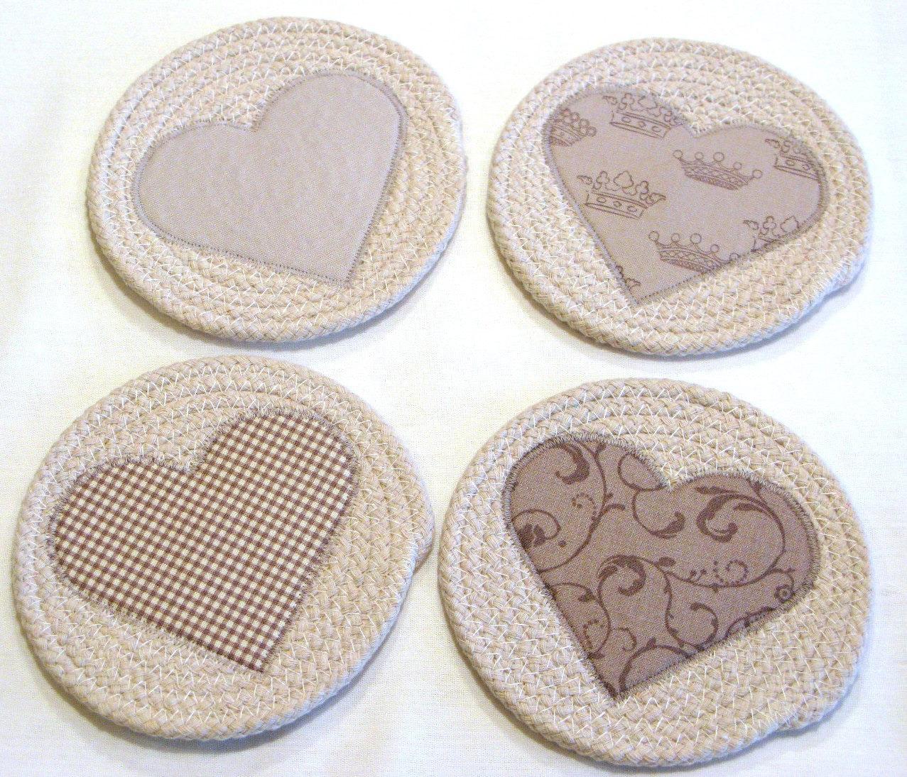 Coasters/Coiled Fabric Coasters/Mug Rugs/Trivets/Shabby