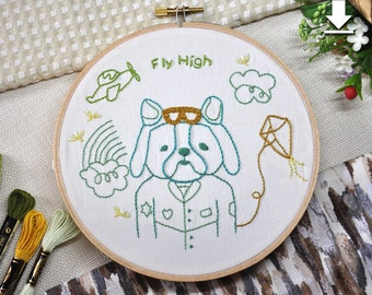 Fly High-hand embroidery patterns pdf,digital download,stitching design