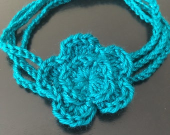 Three Strand Crochet Flower Baby Headband