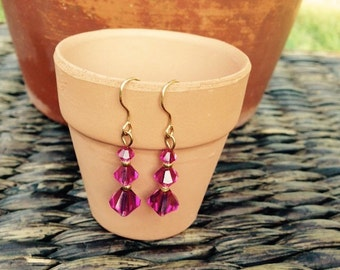 Pink crystal dangle earrings