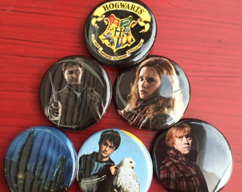 "1.25"" Harry Potter pin back button set of 6"