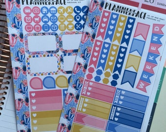 "Hot Air Balloon Personal Planner Sticker Mini Kit ""Up, Up and Away"", Pink, Blue, Gold, Kikki K, Filofax, Websters Pages, Medium"