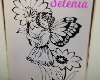 personalized mirror with little girl and flowers your name