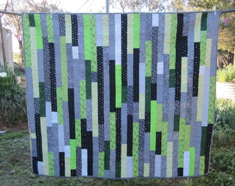 Modern quilt, green black and white,cosy comforter, cosy rug