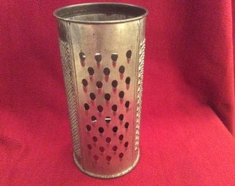 "Eve-Ware Metal Grater appx 8.5"" tall 4"" diameter 1940's"