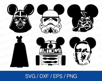 Star Wars Mickey Svg, Disney Star Wars Svg, Mickey Mouse Eps, Mickey Ears Starwars Svg, Svg, Eps, Dxf, Png use with Cricut & Silhouette