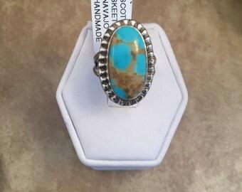 Vintage Navajo Kingman Turquoise & Sterling Silver Ring Size 4