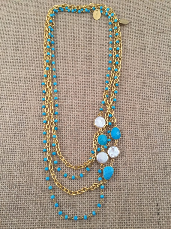 """Rosary Beaded Turquoise Necklace-Turquoise & Baroque Freashwater Pearl gemstones -22K Goldplated-42"""" long-Double Wrap-Layer-HOLBOX II"""