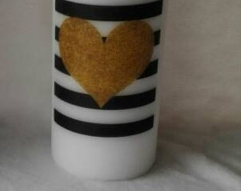 Gold heart striped candle xxx